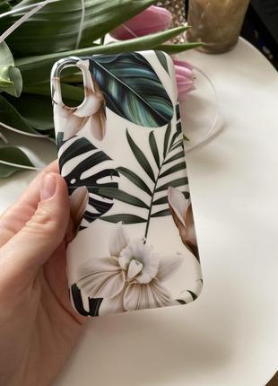 Чехол силикон матовый качественный iphone x xs листья