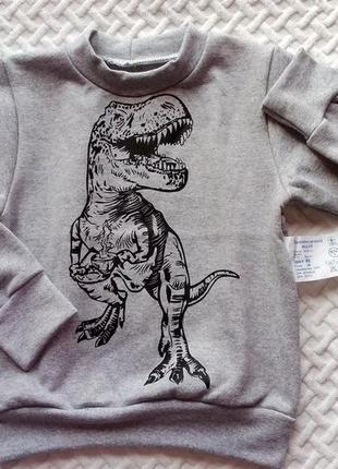 """Супер якість! світшот теплий """"динозавр"""" від 3 до 6 р. розміра."""