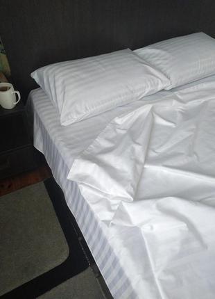 Біла постіль/постіль біла страйп сатин/ постіль євро/ комплект двоспальний/ полуторний