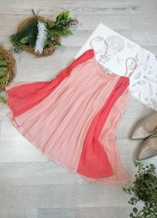 Блузка плиссированная яркая нарядная персиковая можно для беременных