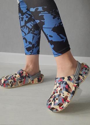 Женские сабо кроксы пестрые, разноцветные,  летние босоножки, спец обувь
