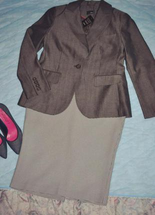 Серый классический жакет, пиджак next в ёлочку,размер 50.офисный жакет на работу