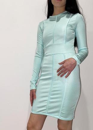 Бандажное платье мятного зелёного цвета с длинным рукавом prettylittlething