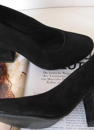 Nona! женские качественные классические туфли черная замша взуття на каблуке 7,5 см