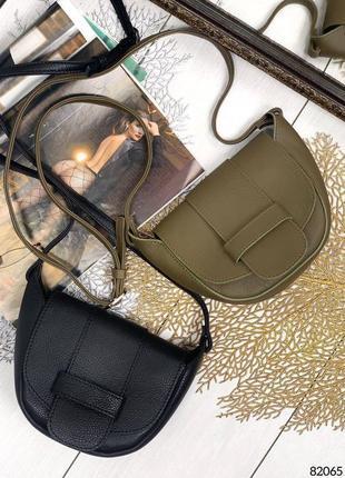 Кожаная сумочка чёрная хаки натуральная кожа