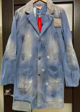 Castro новый джинсовый тренч пиджак жакет куртка потёртости латки ржавчина краска