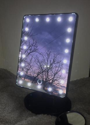 Зеркало косметическое с лед led подсветкой светодиодное с лампочками для макияжа