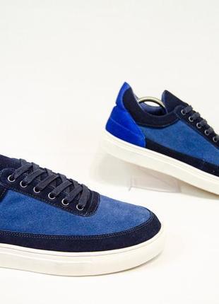 Jack jones кожаные кеды кроссовки синие оригинал! р 43 28 см