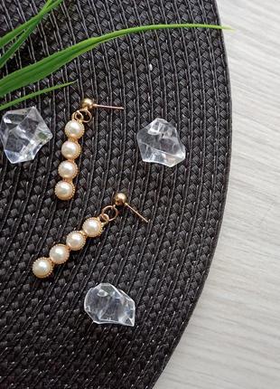 Серьги гвоздики с жемчугом золотые сережки модные подарок подруге