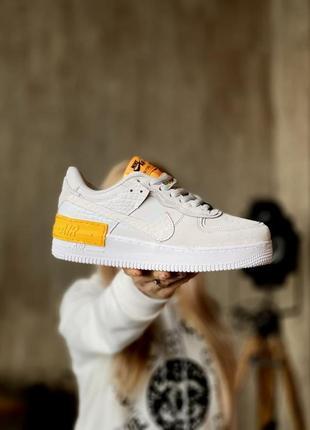 Nike air force shadow white grey 🍏 стильные женские кроссовки найк аир форс