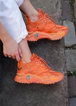 ❤ женские оранжевые текстильные кроссовки calvin klein orange   ❤