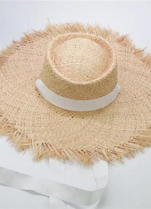 Соломенная шляпа, женская пляжная летняя шляпа с широкими полями и бахромой, капелюх