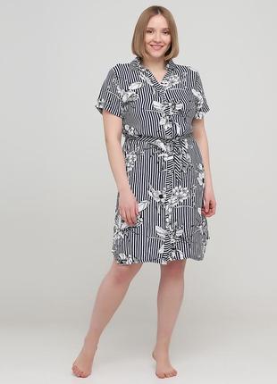 Черно-белое домашнее платье рубашка juliet deluxe в полоску 33248
