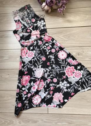 Платье сарафан в цветы с кружевной спиной jane norman
