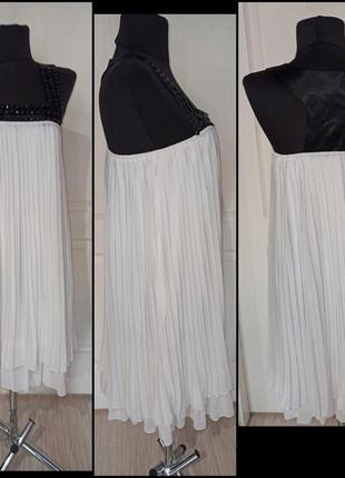 Продам нарядное красивое платье шифоновое сарафан с камнями белое
