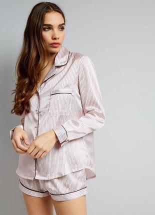 Атласная пижама :рубашка и шорты (пижамный комплект)petite shell