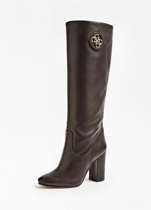 Новые кожаные сапоги guess коричневые