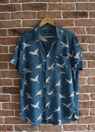 Рубашка винтажная с журавлями с коротким рукавом