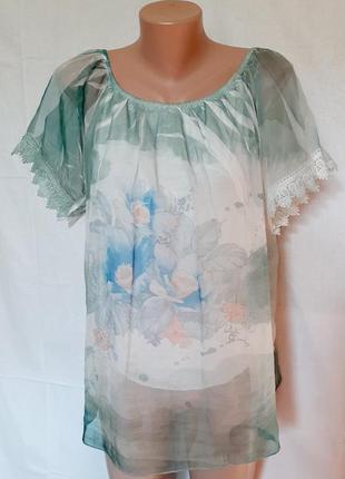 Воздушная итальянская шелковая   блуза кружево цветы бабочки