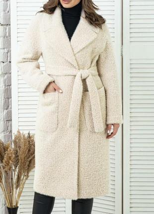 Стильное длинное пальто с поясом , люкс качество, размер 52.