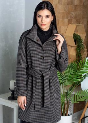 Шикарное стильное пальто, люкс качество,клетка, размер 50.