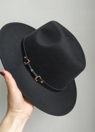 Фетровая шляпа федора, капелюх фетр, чорная шляпа ковбойка