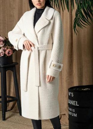 Пальто с альпаки , премиум качество,клетка, размер 46.