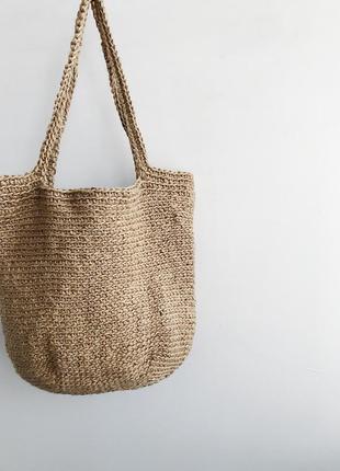 Шоппер пляжный сумка вязаная из джута через плечо