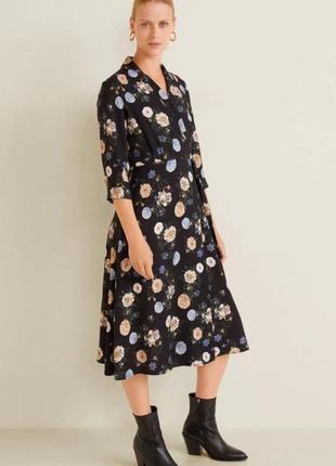 Стильное платье миди mango на запах в цветочный принт.
