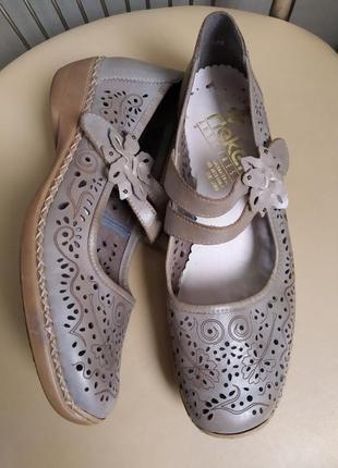 39 p. rieker кожаные супер комфортные туфли мокасины
