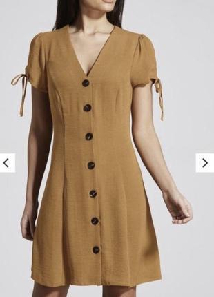 Шикарное легкое горчичное платье