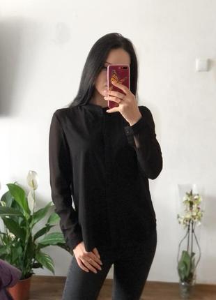 Блузка рубашка с прозрачными плечами