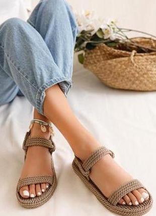 Плетеные сандалии 💍 цвет платина 💍100% ручная работа