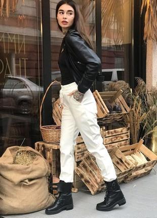 Модные брюки джоггеры стильные из эко-кожи кожаные джогери