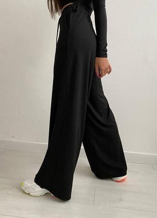 Свободные широкие штаны базовые  трикотажные  на резинке