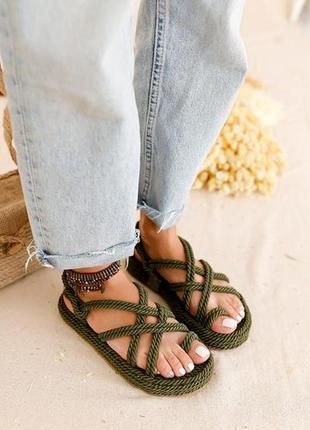 Плетеные сандалии на платформе🍃хаки 🍃100% ручная работа
