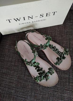 Новые босоножки twin-set by simona barbieri  оригинал кожа стразы твин сет сандалии