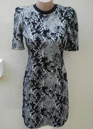 Платье с замочком по спинке,из трикотажной,фактурной ткани,хлопок+ полиэстер, next