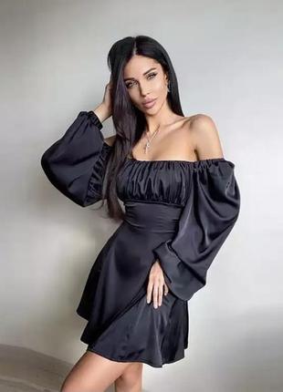 Платье шёлк с пышными рукавами новое