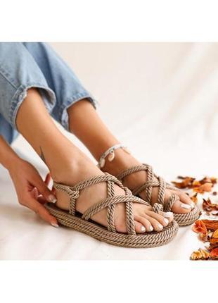 Плетеные веревочные сандалии 💍 платина 💍 100% ручная работа