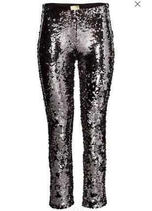 Леггинсы паетки h&m брюки лосины
