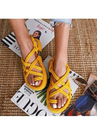 Плетеные сандалии на платформе 🌻желтые🌻. веревочные босоножки 100% ручная работа