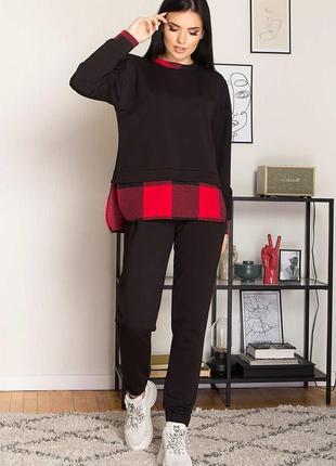 Беспл. доставка черный трикотажный костюм, р. s - 3xl