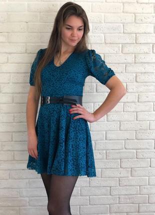Платье фонарик 3 цвета, платье мини, платье гипюр (арт 601)