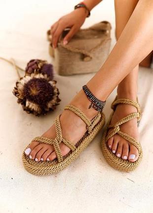 Плетеные сандалии на платформе 👑 бежевые 👑100% ручная работа