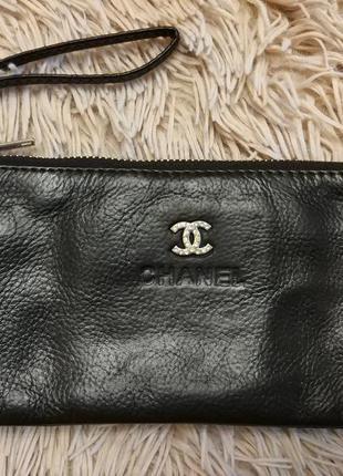 Кошелек chanel натуральная кожа сумка клатч
