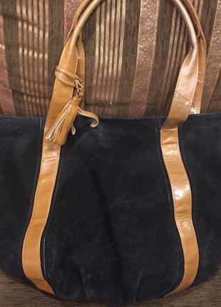 Натуральная замшевая кожаная сумка
