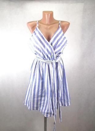 Летнее платье сарафан на бретельках в полоску белое голубое с декольте с поясом