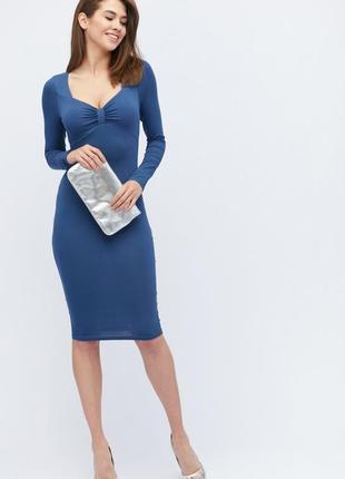Синее платье, платье миди длины, платье футляр , обтягивающее платье