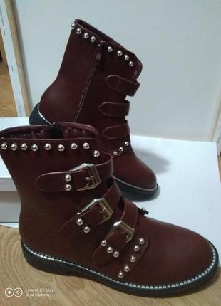 Распродажа последних пар! ботинки демисезон- -цвет марсала- 39-40-shoesita